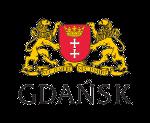 herb Miasta Gdańska. Dwa lwy trzymają herb miasta. Na dole widnieje napis Gdańsk